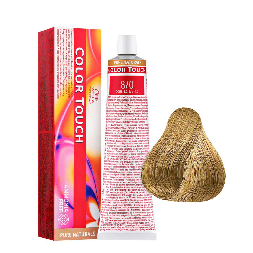 8/0 Intense Blonde Light Wella Color Touch Pure Naturals ammonia free 60ml