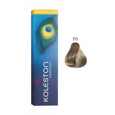 7/1 Medium ash blonde Wella Koleston Perfect Rich Naturals 60ml