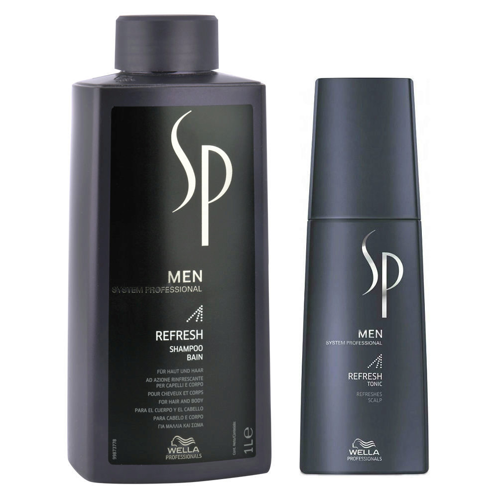 Wella SP Men Kit Refresh Shampoo 1000ml  Refresh Tonic 125ml
