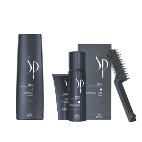 Wella SP Men Kit Refresh Shampoo 250ml  Gradual Tone Black 60ml