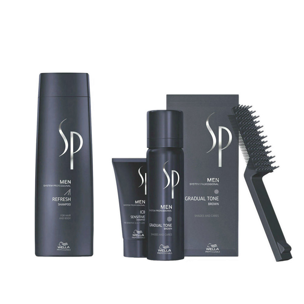 Wella SP Men Kit Refresh Shampoo 250ml  Gradual Tone Brown 60ml