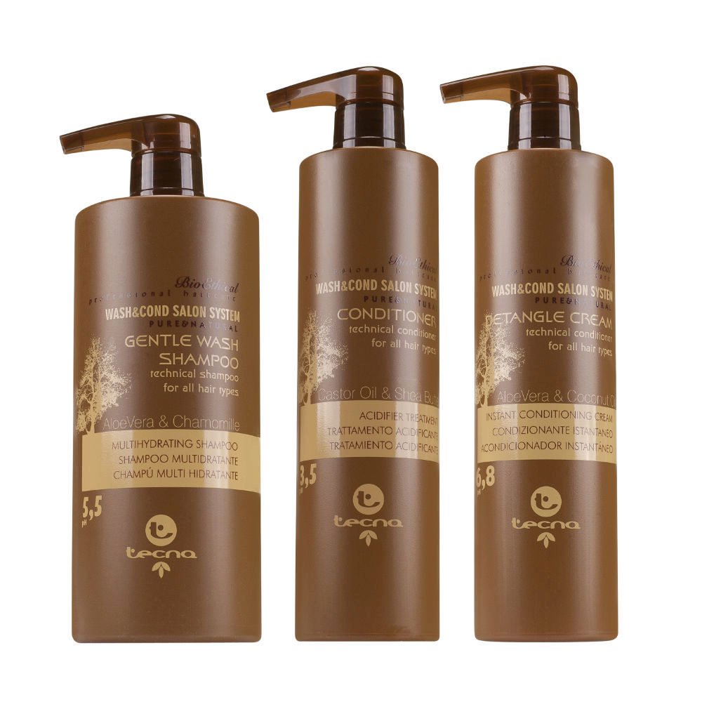 Tecna Kit Gentle Wash Shampoo750ml  Conditioner 500ml  Detangle Cream 500ml