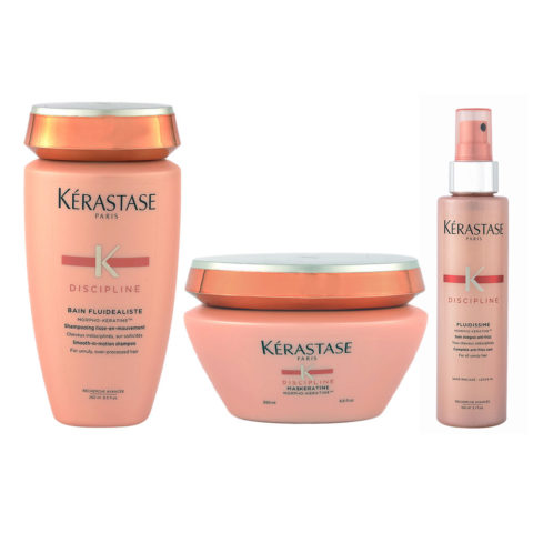 Kerastase Discipline Kit Bain sans-sulfates 250ml Maskeratine 200ml Fluidissime spray 150ml