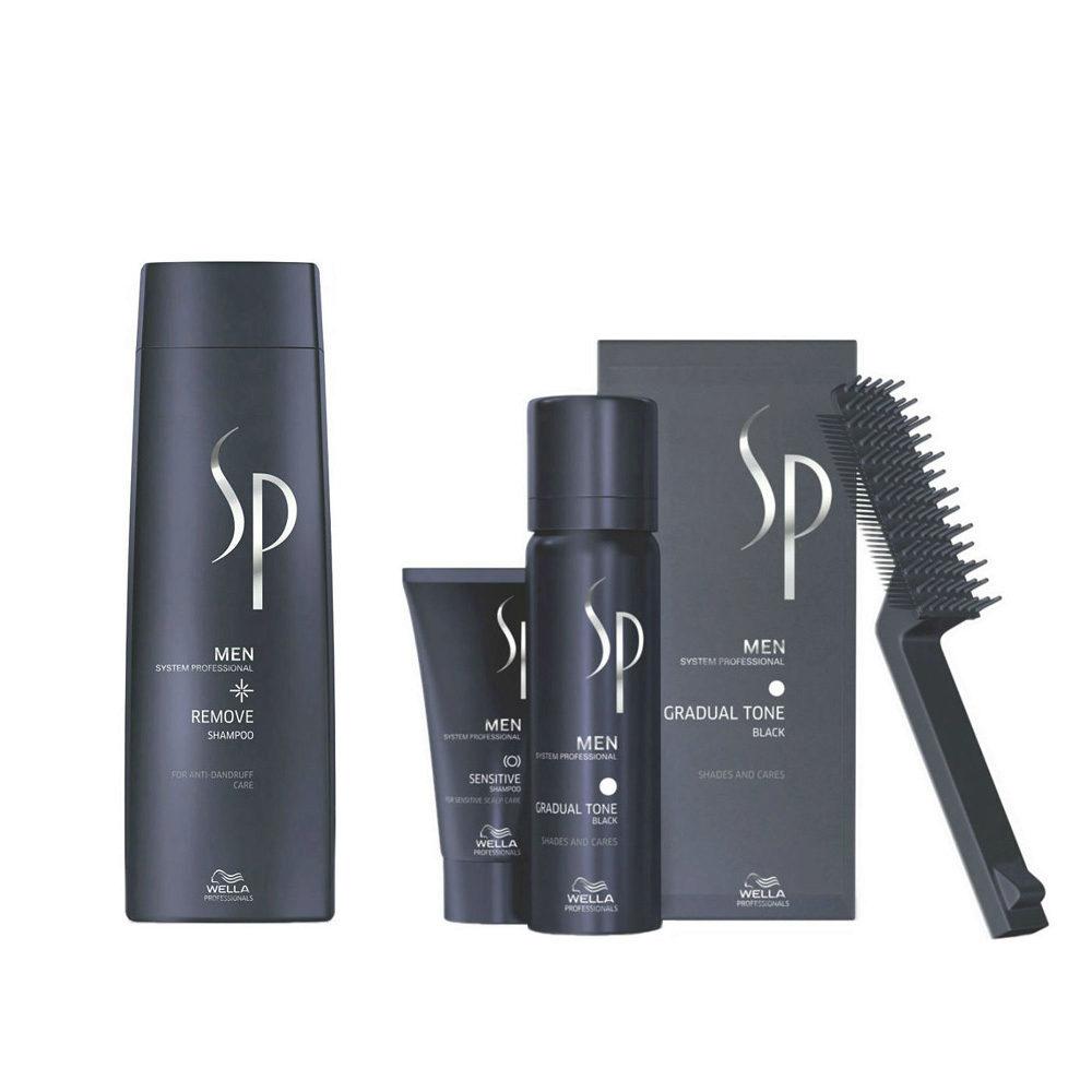 Wella SP Men Kit Remove Shampoo 250ml   Gradual Tone Black 60ml