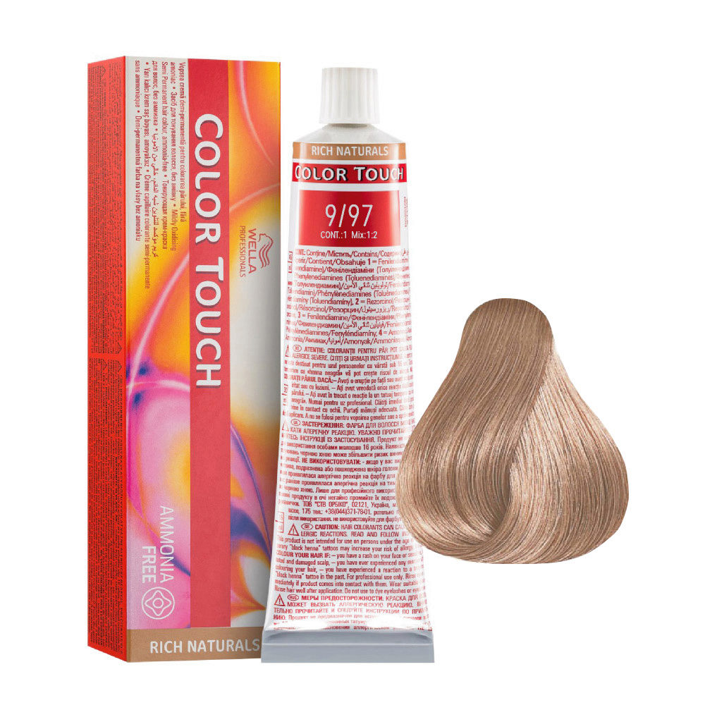 9/97 Blonde Very Clear Cendre Wella Color Touch Rich Naturals ammonia free 60ml