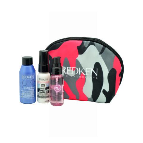Redken Travel Kit Extreme Anti-Snap 50ml  One United Spray 30ml  Diamond Oil Glow dry oil 30ml Free clutch bag