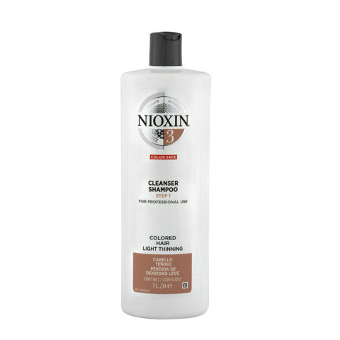 Nioxin System3 Cleanser Shampoo 1000ml - colored hair - light thinning