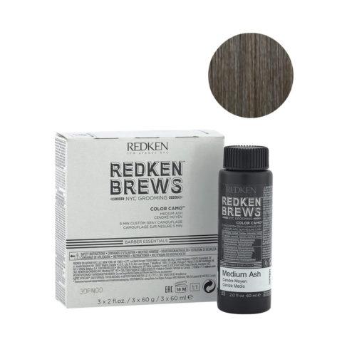 Redken Brews Man Color camo Medium ash 3x60ml - colour for grey and white hair