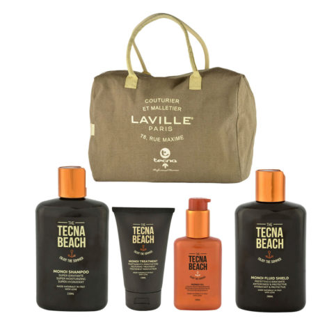 Tecna Beach Monoi kit Shampoo 250ml Treatment 150ml Oil 100ml Fluid 200ml free beach bag