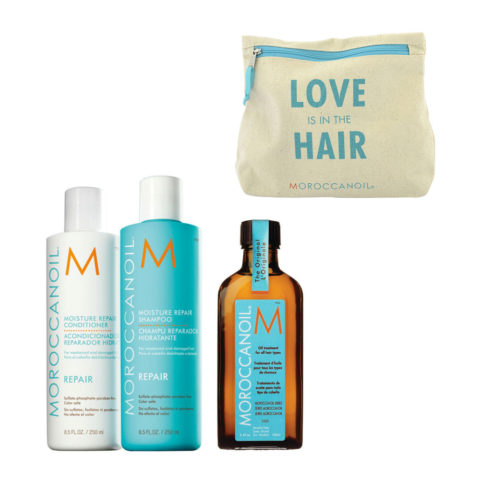 Moroccanoil Kit8 Moisture Repair Shampoo 250ml conditioner 250ml Oil Treatment 100ml  Free clutch bag
