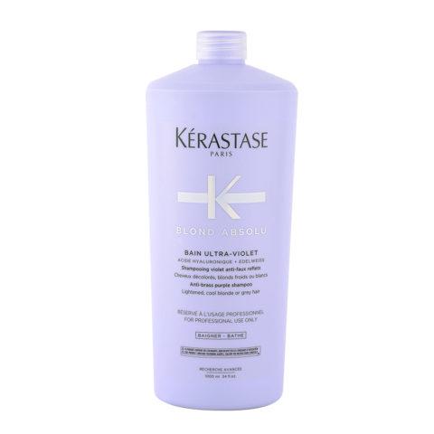 Kerastase Blond Absolu Bain ultra violet 1000ml - antiyellow shampoo for blonde or grey hair