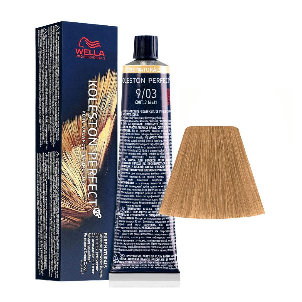 9/03 Very Light Blonde Natural Gold Wella Koleston perfect Me+ Pure Naturals 60ml