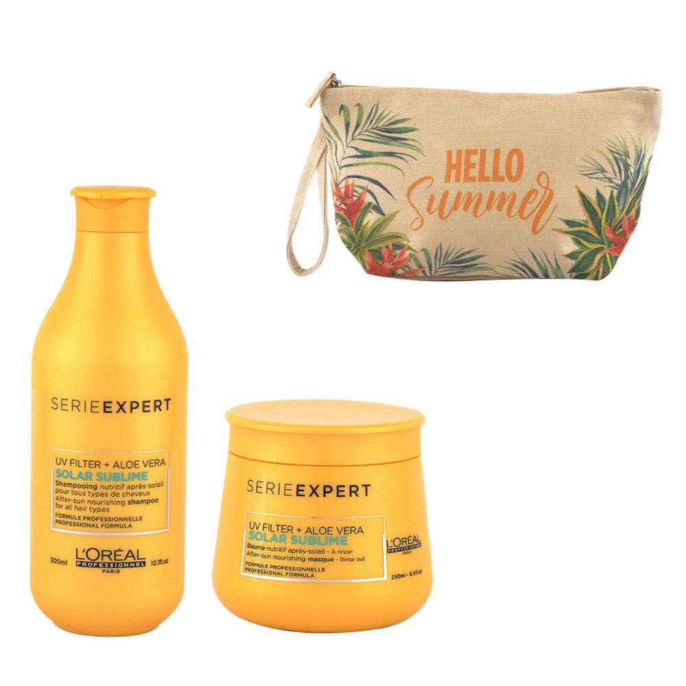 L'Oreal Solar Sublime Kit Shampoo 300ml Masque 250ml - free gift clutch