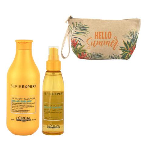 L'Oreal Solar Sublime Kit Shampoo 300ml Spray 125ml - free gift clutch