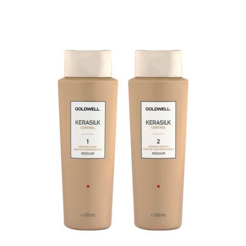 Goldwell Kerasilk Control 1 Shape Medium 500ml 2 Smooth Medium 500ml - Smoothing Treatment