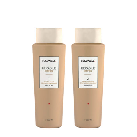 Goldwell Kerasilk Control 1 Shape Medium 500ml 2 Smooth Intense 500ml - Smoothing Treatment