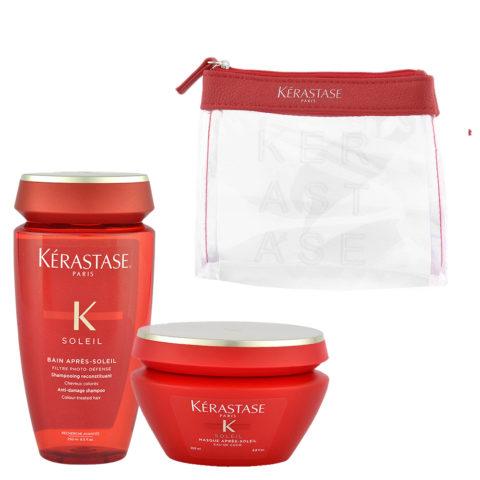 Kerastase Soleil Kit Shampoo Après Soleil 250ml Masque Après Soleil 200ml - free clutch bag