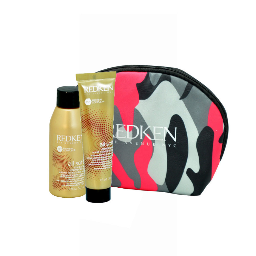 Redken Kit All soft Shampoo 50ml Conditioner 30ml free clutch bag