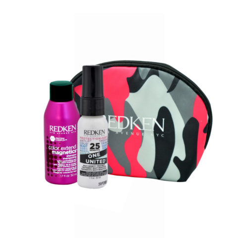 Redken Kit Color extend magnetics Shampoo 50ml  One United All in one spray 30ml free clutch bag