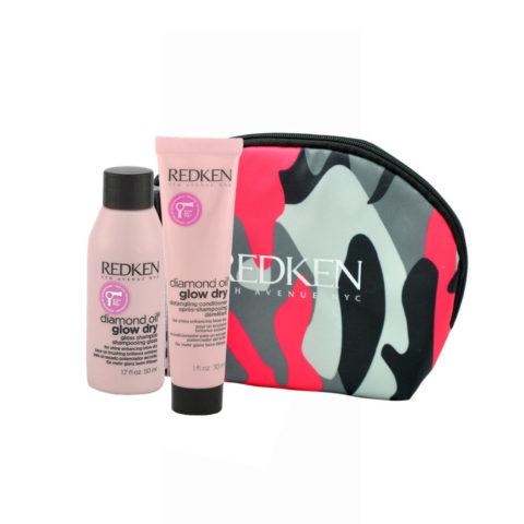 Redken Diamond Oil Glow Dry Gloss Shampoo 50ml Detangling Conditioner 30ml free clutch bag
