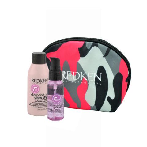 Redken Diamond Oil Glow Dry Gloss Shampoo 50ml Shine Oil 30ml free clutch bag