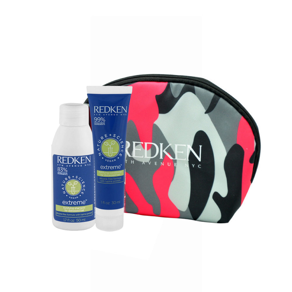 Redken Nature + Science Extreme Shampoo 50ml Conditioner 30ml free clutch bag