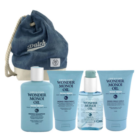 Tecna Beach Wonder Monoi kit Shampoo 250ml Treatment 150ml Oil 100ml Cream 200ml + Datch backpack