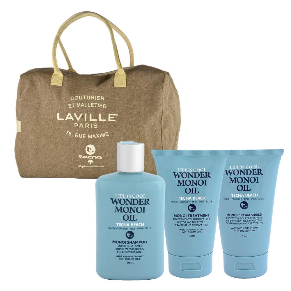 Tecna Beach Wonder Monoi kit Shampoo 250ml Treatment 150ml Cream 125ml free beach bag