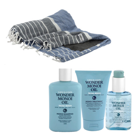 Tecna Beach Wonder Monoi kit Shampoo 250ml Treatment 150ml Oil 100ml + free beach towel Baldinini