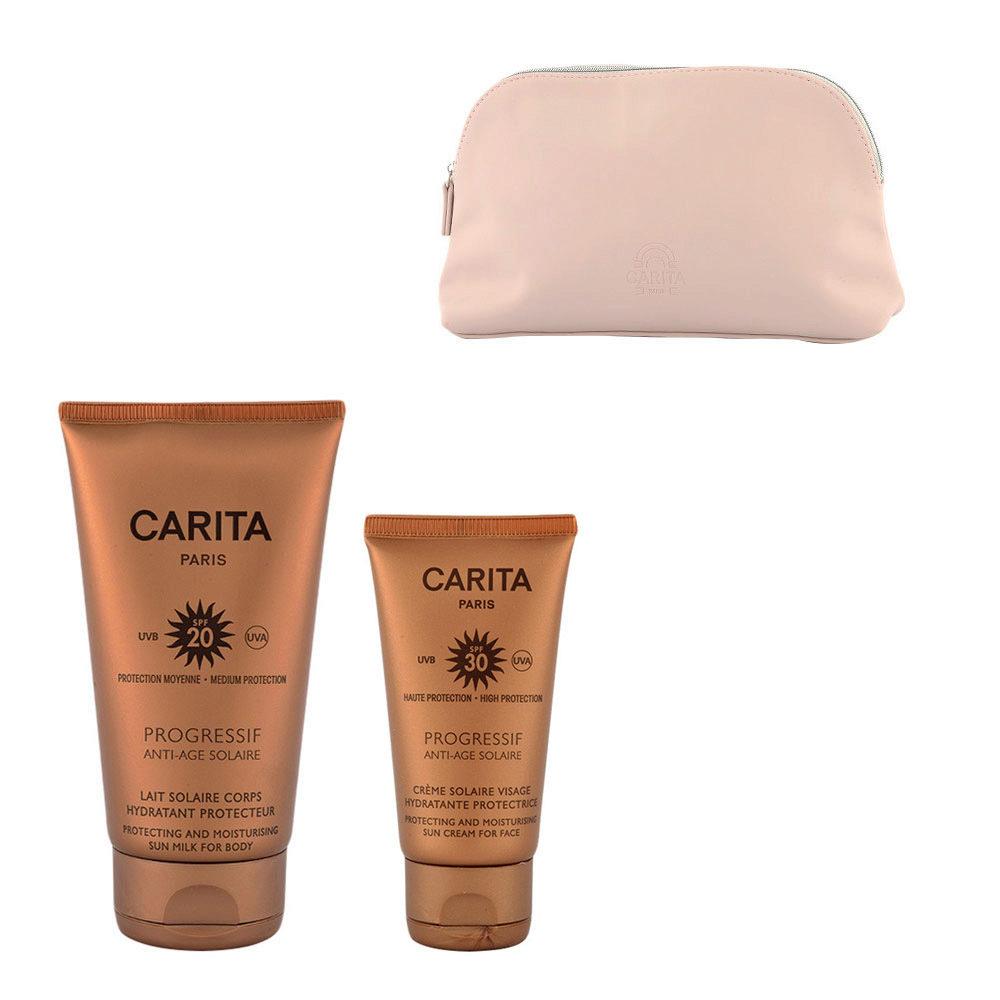 Carita Progressif Anti-Age Solaire Hydratant Protecteur Kit Crème Visage 50ml Lait Corps 150ml - free clutch bag