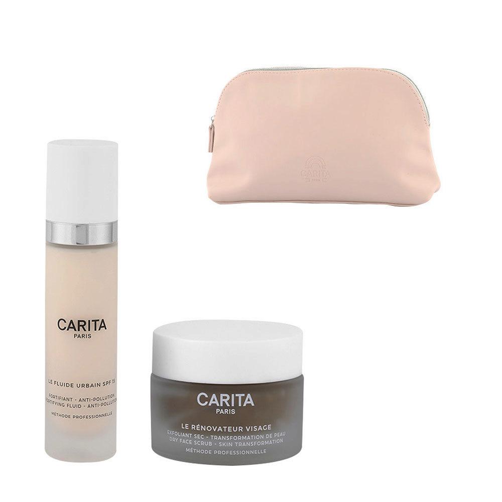 Carita Kit Le Rénovateur Visage 50ml Le Fluide Urbain 50ml Free Clutch Bag