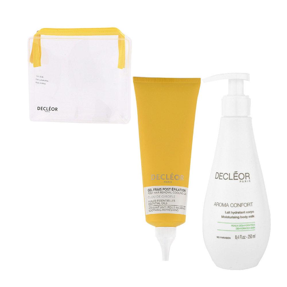 Decléor Bodycare Kit Post Hair Removal Cooling gel Clove 125ml Lait Hydratant 250ml - free clutch bag