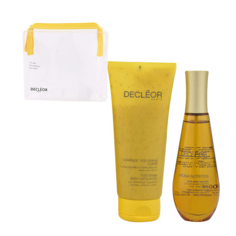 Decléor Aroma Nutrition body Kit Gommage 1000 grains corps 200ml Huile sèche satinante 100ml - free clutch bag