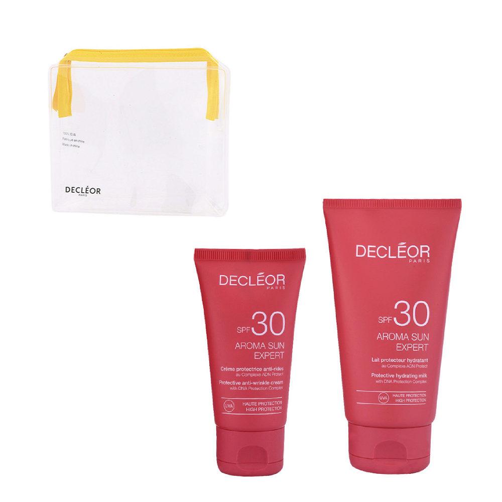 Decléor Aroma Sun Kit Protecteur Crème Anti-rides SPF30 50ml Lait Hydratant SPF30 150ml - free clutch bag