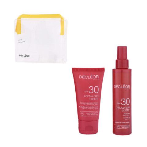 Decléor Aroma Sun Kit Protecteur Crème Anti-rides SPF30 50ml Huile d'été corps et cheveux SPF30 150ml - free clutch bag
