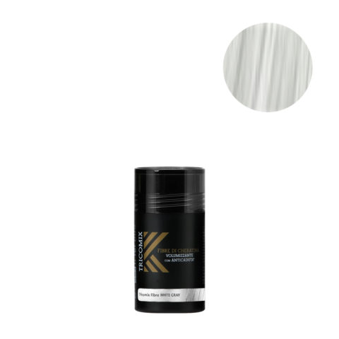 Tricomix Fibre White Gray 12gr - Volumizing Keratin Fibers With Anti Hair Loss Principles