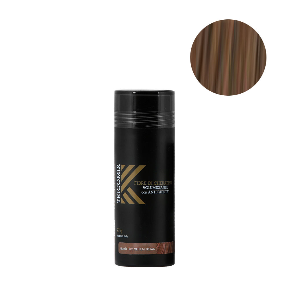 Tricomix Fibre Medium Brown 27gr - Volumizing Keratin Fibers With Anti Hair Loss Principles