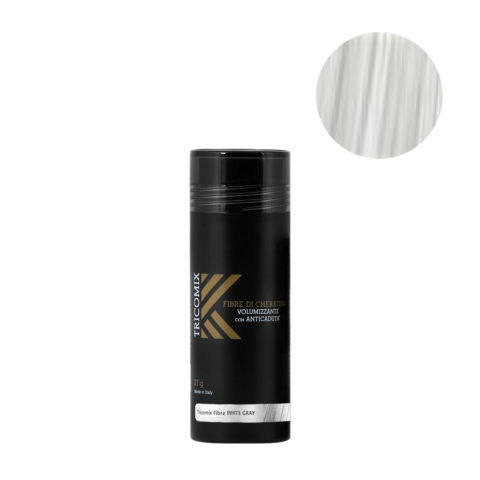 Tricomix Fibre White Gray 27gr - Volumizing Keratin Fibers With Anti Hair Loss Principles