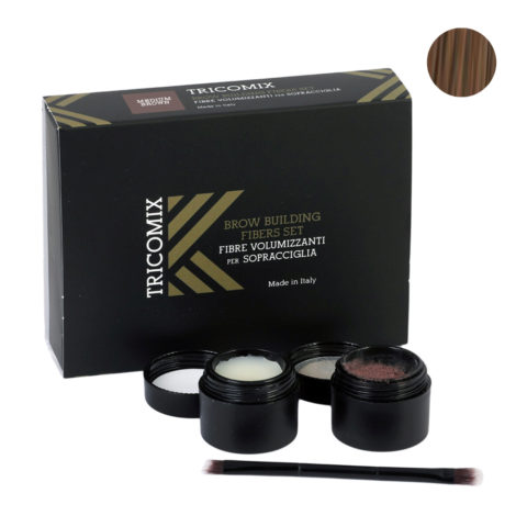 Tricomix Brow Medium Brown 1,2g + 2g - Volumizing Keratin Fibers for Eyebrows