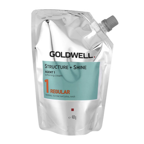 Goldwell Structure + Shine Agent 1 Softening Cream 1 Regular 400gr - Straightening For Fine To Normal Natural Hair