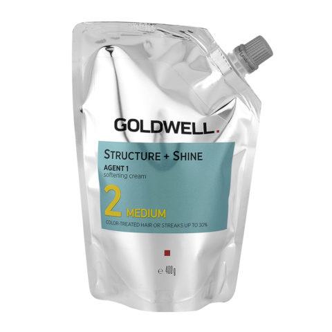 Goldwell Structure + Shine Agent 1 Softening Cream 2 Medium 400gr - Straightening For Coloured Hair