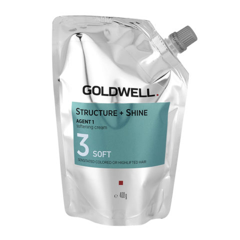 Goldwell Structure + Shine Agent 1 Softening Cream 3 Soft 400gr - Straightening For Colored Sensitive Hair