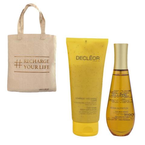 Decléor Aroma Nutrition body Kit Gommage 1000 grains corps 200ml Huile sèche satinante 100ml - free bag