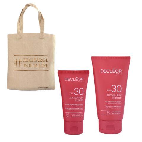 Decléor Aroma Sun Kit Protecteur Crème Anti-rides SPF30 50ml Lait Hydratant SPF30 150ml - free bag
