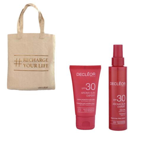 Decléor Aroma Sun Kit Protecteur Crème Anti-rides SPF30 50ml Huile d'été corps et cheveux SPF30 150ml - free bag