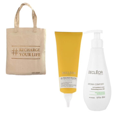 Decléor Bodycare Kit Post Hair Removal Cooling gel Clove 125ml Lait Hydratant 250ml - free bag