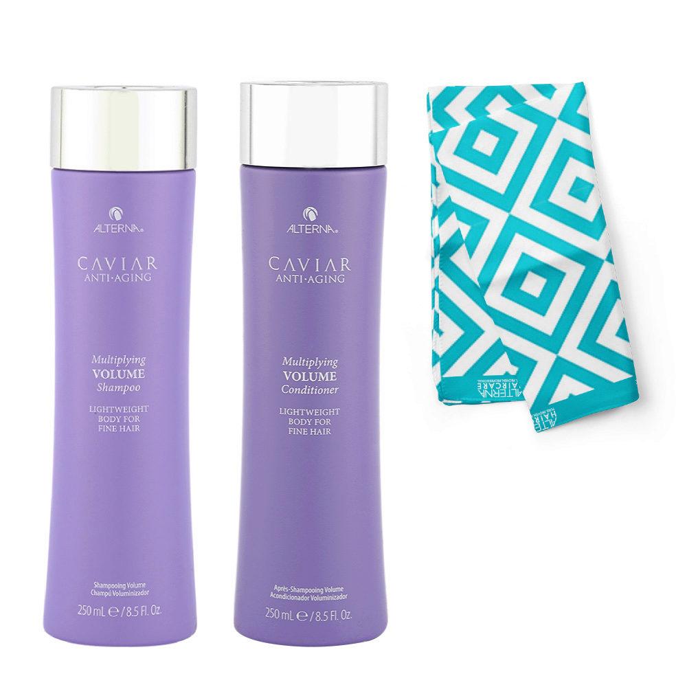 Alterna Caviar Multiplying Volume Kit Shampoo 250ml Conditioner 250ml - Free Pareo