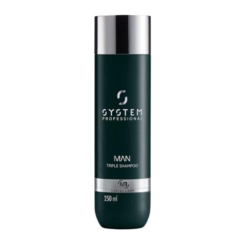 System Professional Man Triple Shampoo M1, 250ml - Hair & Beard Shampoo