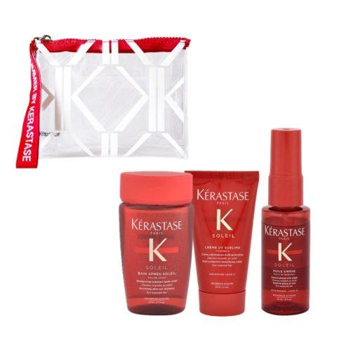 Kerastase Soleil Kit Shampoo 80ml Creme UV Sublime 50ml Huile Sirene 45ml - free gift clutch bag
