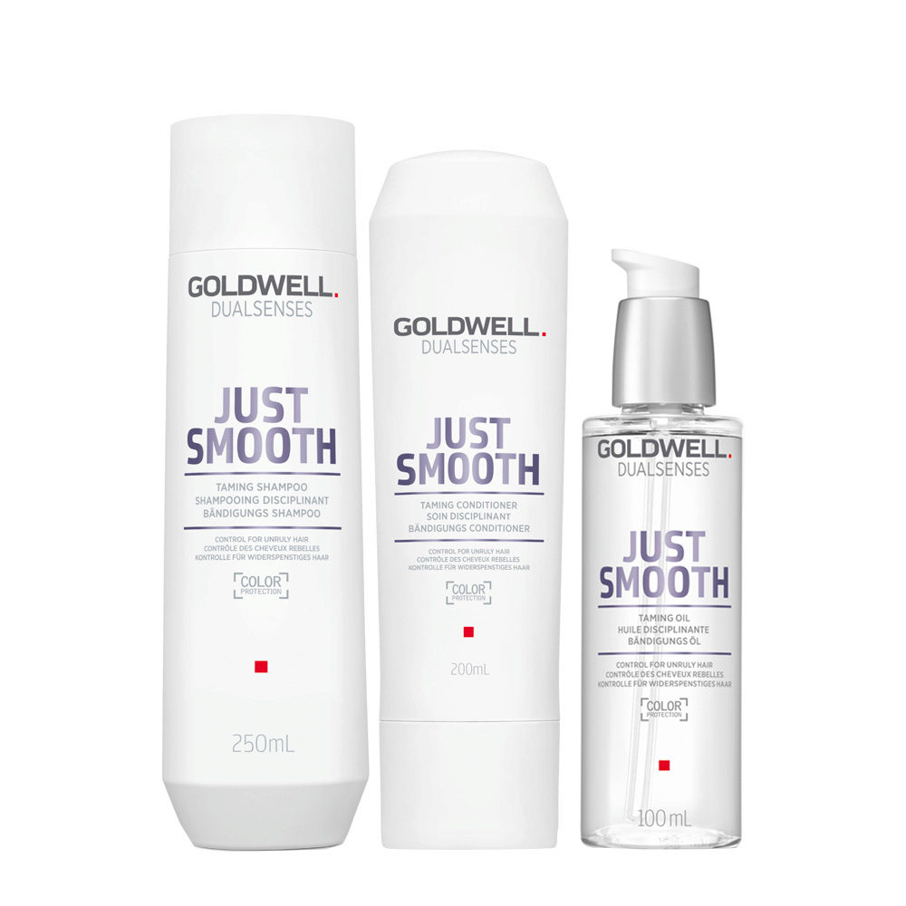 Goldwell Dualsenses Just Smooth Taming Shampoo 250ml Conditioner 200ml Oil 100ml